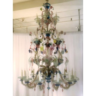 Antique Venetian Multi-Colored Hand-Blown Chandelier, Circa 1910-1920.