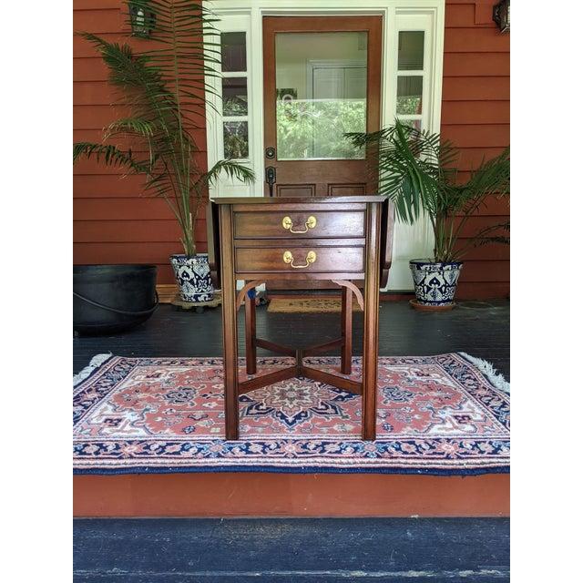 Vintage Henkel-Harris Drop Leaf Mahogany Side Table For Sale - Image 12 of 12