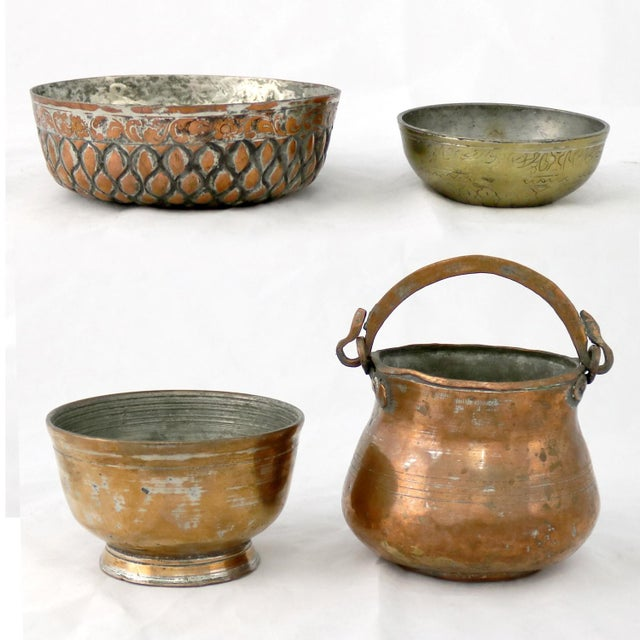 Gold Antique Hand-forged Turkish Copper and Brass Bowls - Set of 4 For Sale - Image 8 of 13