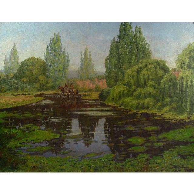 1930s California Horsemen Oil on Canvas For Sale - Image 5 of 5