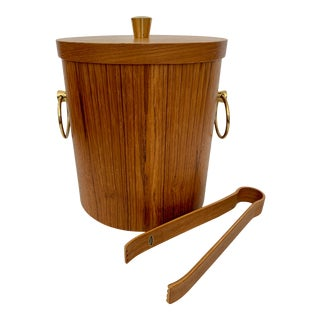 Mid-Century Teak Ice Bucket With Tongs For Sale