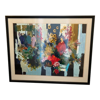 French Mid-Century Serigraph by Claude Fauchere For Sale