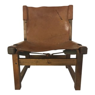 Vintage Mid-Century Brown Leather Spanish Fireplace Chair For Sale