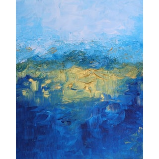 2010s Abstract Art Painting of Blue Turquoise Gold Metallic Landscape For Sale