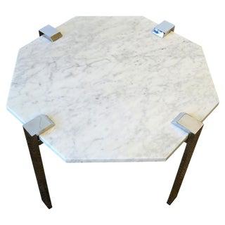 Italian Modern Octagonal Carrara Marble and Chrome Table For Sale