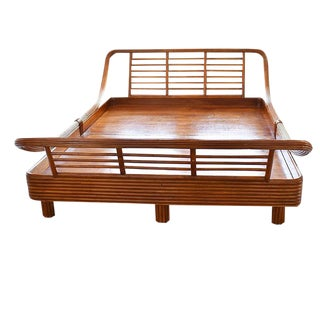 Mid-Century Modern Bamboo Rattan Pretzel Queen Bed in the Style of Paul Frankl
