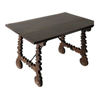 19th C. Spanish Table W/ Iron Stretcher For Sale