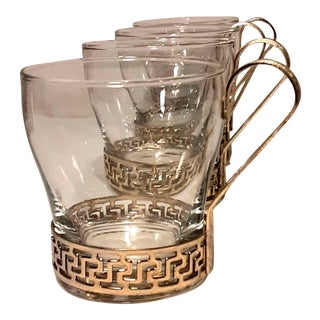 Vintage Libbey Drinking Glasses W Gold Metal Greek Key Handles - Set of 4 For Sale