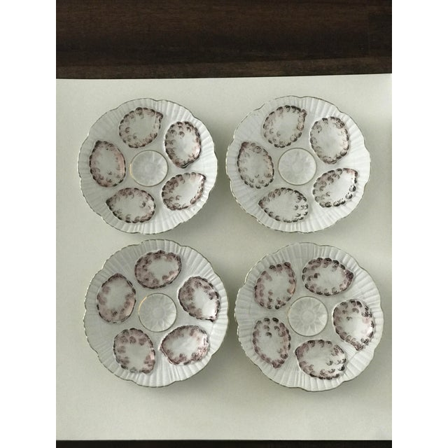 Metal Vintage Gray and White Oyster Plates - Set of 4 For Sale - Image 7 of 7
