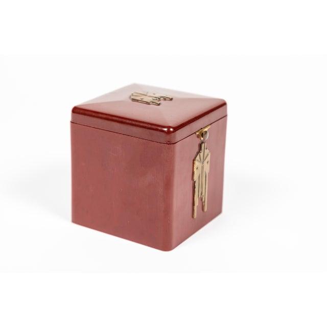 Art Deco Vintage Demley Art Deco Red Cigarette Box For Sale - Image 3 of 10