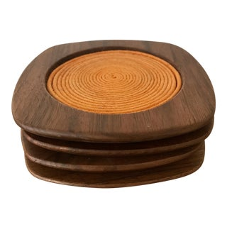 Modern Teak Saffron Coasters - Set of 4