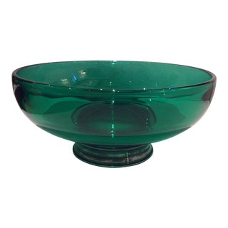 Kelly Green Glass & Pewter Bowl