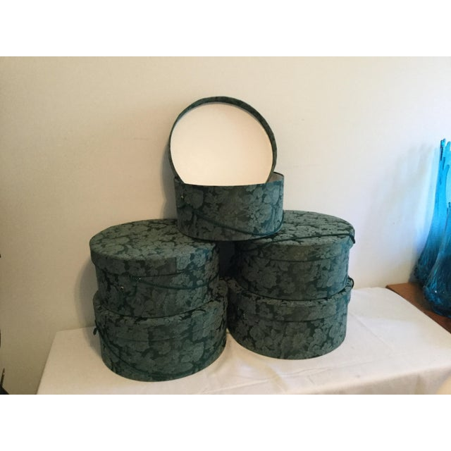 2000 - 2009 Vintage Fabric Covered Hat Boxes For Sale - Image 5 of 12