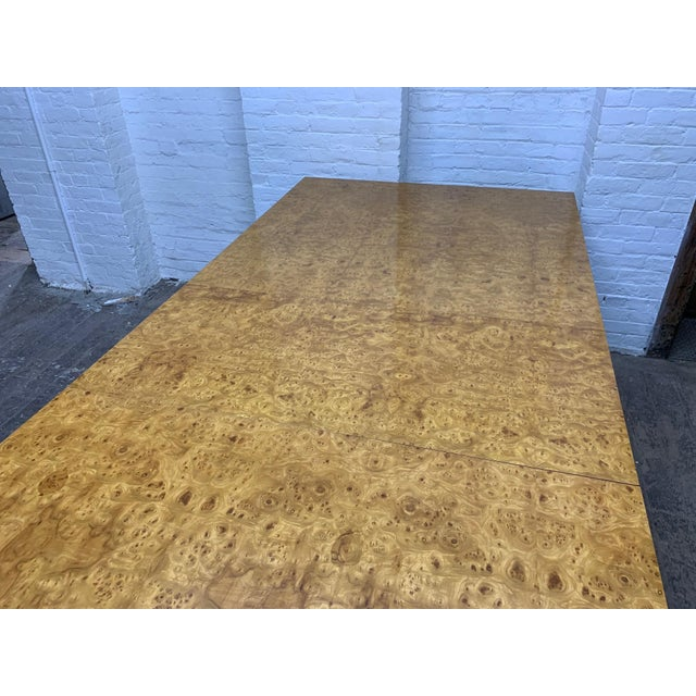 1970s Milo Baughman Burl Wood Dining Table With Two Leaves For Sale - Image 5 of 8