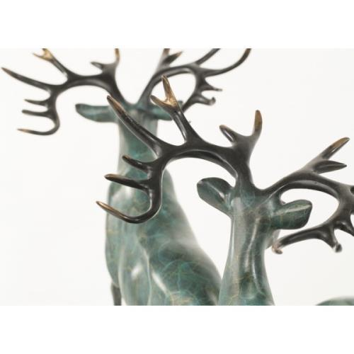 Two Running Stag Reindeer Bronze Statue For Sale - Image 4 of 9