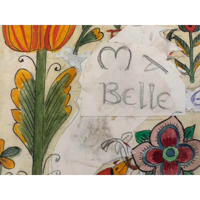 This charming unsigned study by Pemberton has the words Ma Belle collaged onto a board which is painted and collaged with...