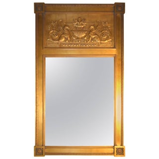 Empire Style Giltwood Looking Glass For Sale