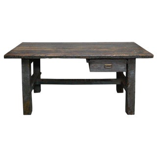 19th Century English Wood Plank Top Work Table For Sale