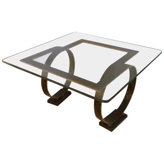 Paul Evans Style Square Welded Coffee Table Metal Base and Feet For Sale