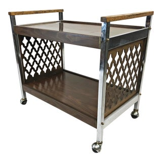 Vintage Mid Century Modern Two Tier Serving Cart For Sale