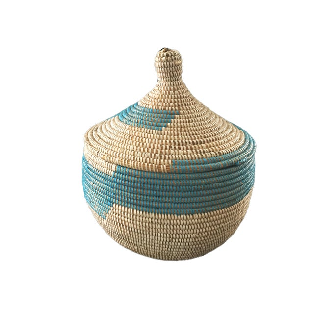 Superb Basket with Lid from Senegal West Africa, handwoven by an association of more than 100 rural Wolof women in Senegal...