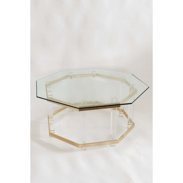 Art Deco 1960s Art Deco Charles Hollis Jones Brass and Lucite Octagonal Coffee Table For Sale - Image 3 of 10
