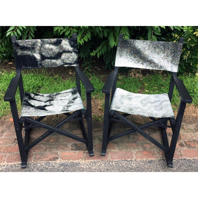 2 reclaimed Pottery Barn teak folding chair frames have been stained a dark Jacobean with attached seat and back support...