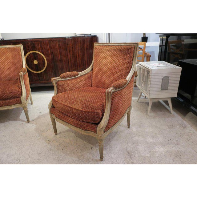 Pair of French Late 18th Century Louis XVI Bergères For Sale - Image 4 of 10