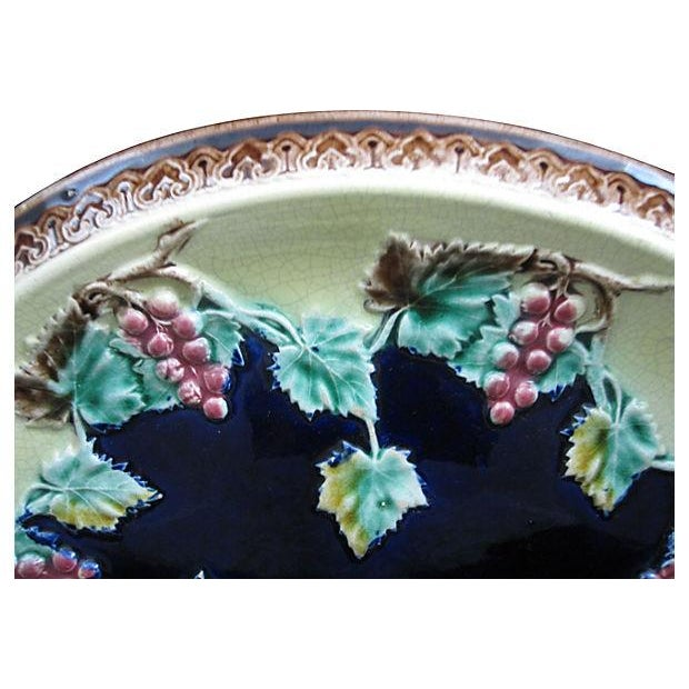 Gothic Antique 19th C. Majolica Gothic Grapevine Platter For Sale - Image 3 of 6