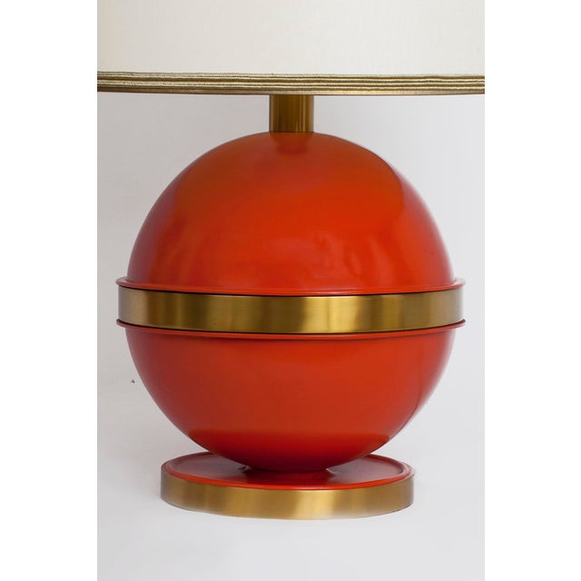 1970s Art Deco Bright Orange Nautical Brass Table Lamp For Sale - Image 4 of 7