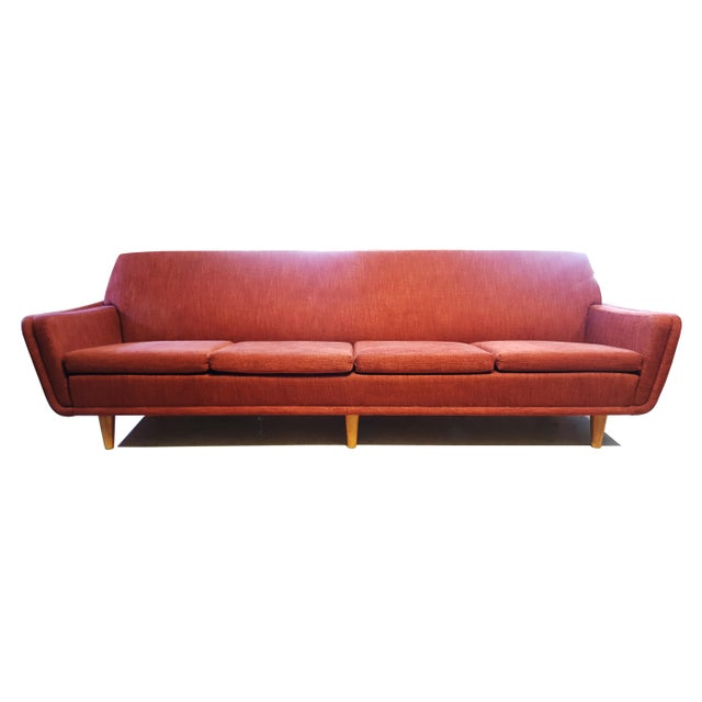 Red Large Swedish Mid-Century Modern/Space Age Folke Ohlsson for Dux Red Sofa/Couch For Sale - Image 8 of 8
