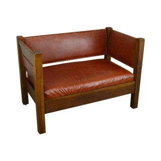 Mission Oak Antique Leather Settee Loveseat For Sale