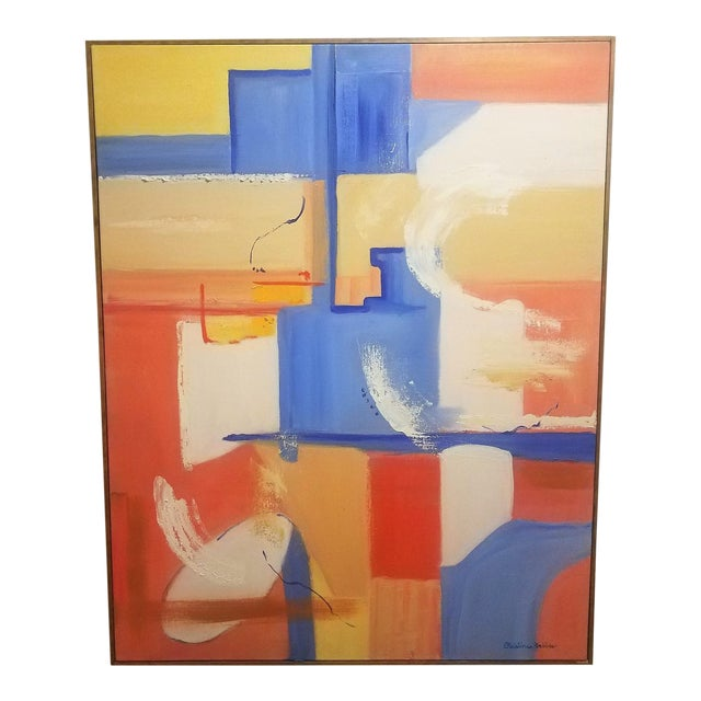 """Abstract Modern """"City Wind"""" Oil Painting by Christine Frisbee For Sale"""