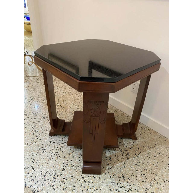 American Art Deco Side Table With Polished Black Granite Top 1930s For Sale - Image 4 of 11