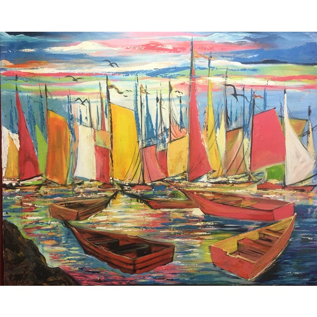 """Huge Original Joseph Friedrich Modern Fauvism Expressionist Painting Sailboats in Port O/C - 40"""" X 50"""" For Sale"""