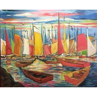 """Original Joseph Friedrich Modern Fauvism Expressionist Painting Sailboats in Port O/C - 40"""" X 50"""" For Sale"""