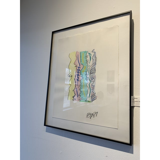 Charcoal 1980s Postmodern Mixed Media Drawing For Sale - Image 7 of 8