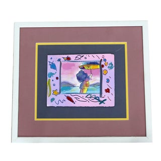 """Mid-Century Modern """"Man With Umbrella"""" Framed Painting Signed Peter Max For Sale"""