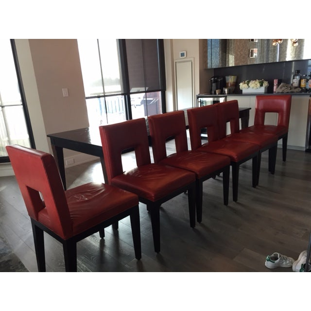 Red Custom Made Dining Chairs - Set of 6 - Image 3 of 8