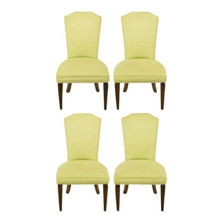 Four Regency Side Chairs In Apple Green & White Flamestitch For Sale