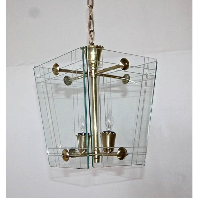 1950s Italian Fontana Arte Style Hall Entry Glass Pendant For Sale - Image 11 of 13