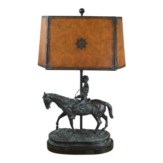 Bronze Jockey and Horse Sculpture Lamp For Sale