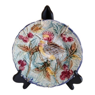French Majolica Rooster Plate For Sale