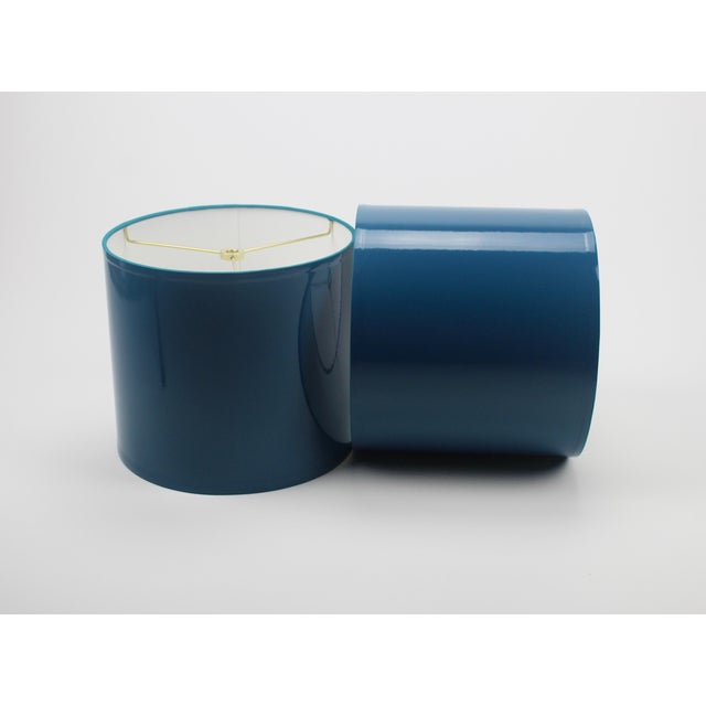 Modern Small High Gloss Teal Lampshades - a Pair For Sale - Image 3 of 4