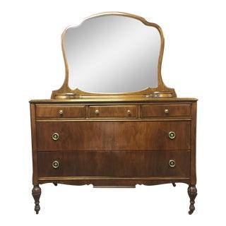 Antique Empire Dresser With Mirror