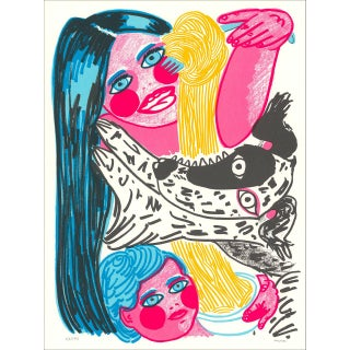 Angel Hair Mother Child Dog Contemporary Silkscreen Print Serigraph by Madeline Donanhue For Sale