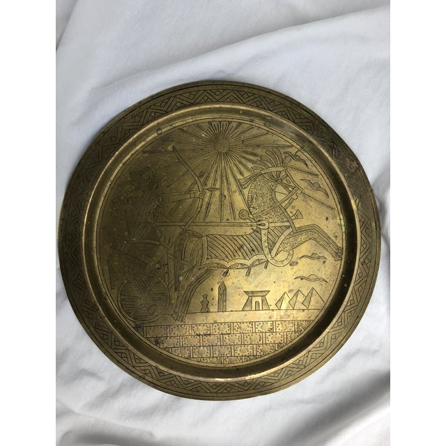 20th Century Egyptian Brass Etched Plate For Sale - Image 4 of 8