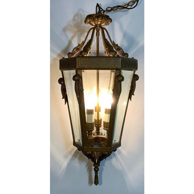 Mid-Century Modern Vintage Six Sided Indoor Hanging Lantern Chandelier For Sale - Image 3 of 13