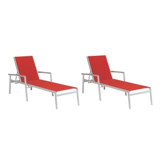 Outdoor Sling Chaise Lounge, Vintage and Red (Set of 2) For Sale