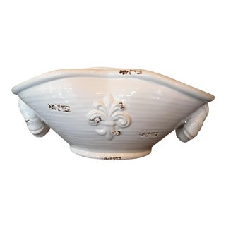 21st Century Rustic White Distressed Ceramic Bowl For Sale